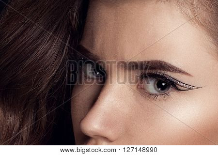 Beauty Black Lip Makeup Beauty Fashion Model Girl with Black Make up Long Lushes. Fashion Trendy Caviar Black Manicure.