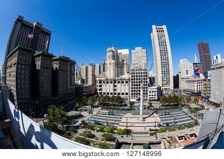 SAN FRANCISCO, CALIFORNIA, USA - SEPTEMBER 17, 2015: View of the Union Square in direction north in San Francisco on September 17, 2015. This view provides a nice look to the San Francisco downtown center area.