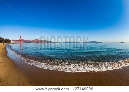 View to the Golden Gate Bridge from Crissy Field Park San Francisco