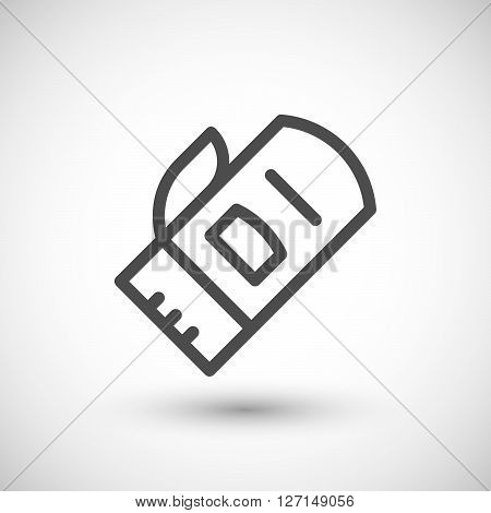 Protective mitten line icon isolated on grey. Vector illustration