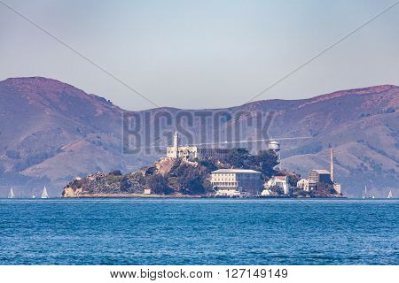 SAN FRANCISCO, CALIFORNIA, USA - SEPTEMBER 17, 2015: Exterior views of the Alcatraz Island in San Francisco on September 17 2015. The Alcatraz island was a federal prison from 1933 until 1963.