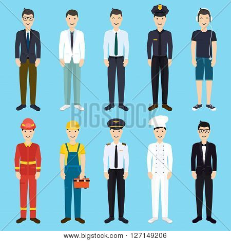 Set of colorful profession man flat style icons: businessman doctor artist designer cook police teacher pilot admin. Vector illustration.