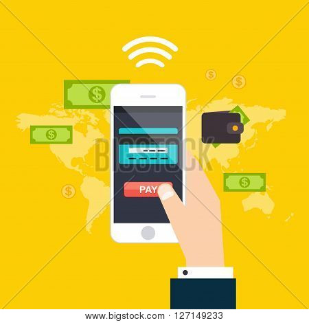 Online And Mobile Payments Concept. Human Hand Finger Pressing Pay Button On A Phone With Running Pa