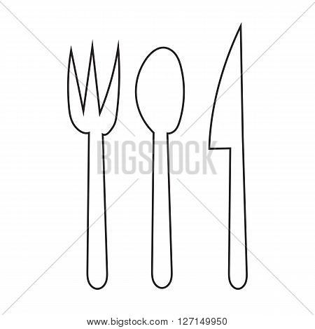 Fork Spoon and Knife doodle hand draw icon for the meal with outline on white background
