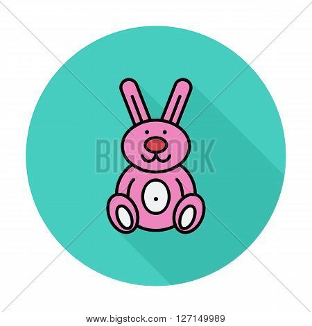 Rabbit toy icon. Flat vector related icon with long shadow for web and mobile applications. It can be used as - logo, pictogram, icon, infographic element. Vector Illustration.