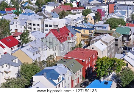 Reykjavik, Iceland, skyline from Hallgrimskirkja on a sunny summer day