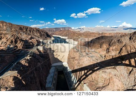 LAS VEGAS, NEVADA - SEPTEMBER 6, 2015: Hoover Dam and Lake Mead near Las Vegas