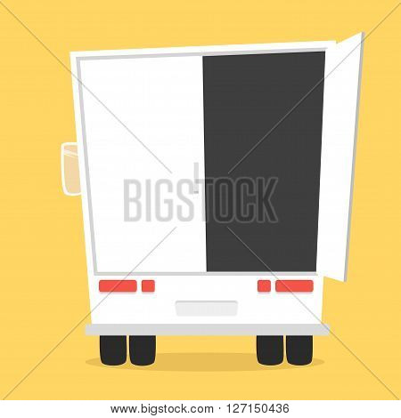 Truck for transportation cargo. Vector illustration. Isolated on yellow background. Cartoon truck. White truck. Delivery of cargo