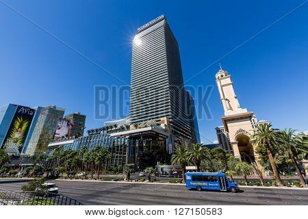 LAS VEGAS, NEVADA - SEPTEMBER 8, 2015: Exterior views of the Aria Casino Resort on the Las Vegas Strip on September 8 2015. The Aria Casino Resort is a famous and popular luxury casino in Vegas.