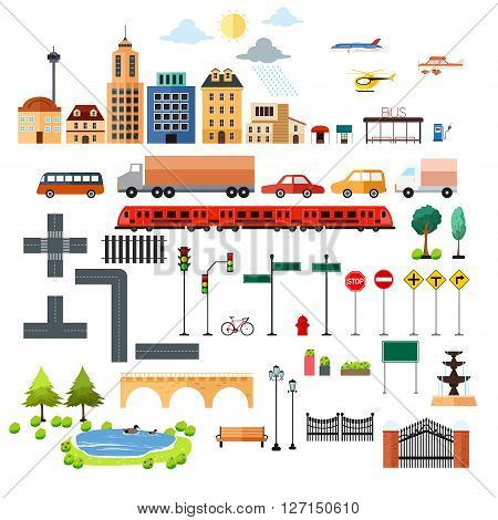 A vector illustration of city element icons