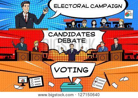 A vector illustration of presidential election banner design
