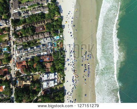 Top View of Juquehy Beach, Sao Paulo, Brazil