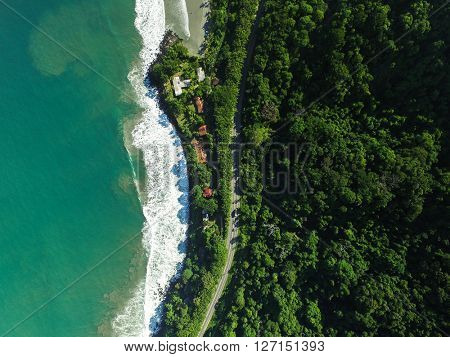 Top View of Highway in a Coastline Landscape, Sao Sebastiao, Brazil