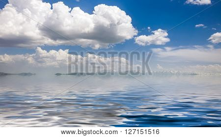Blue sunny sea and cloudy blue sky