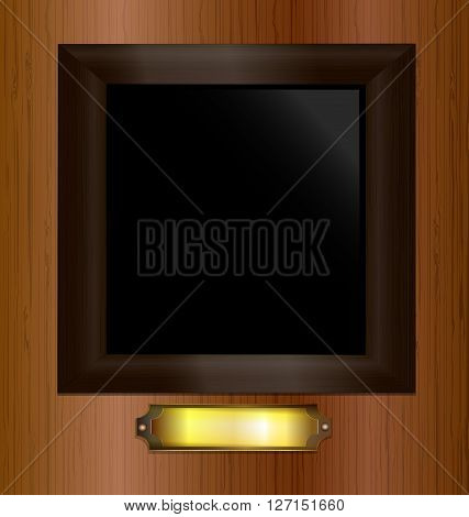 wooden wall and the empty frame with the golden plate