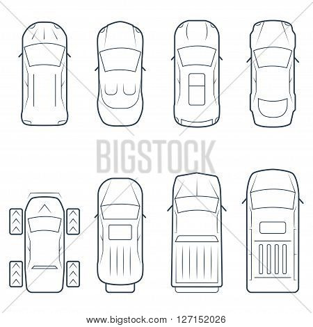 Cars icon set in thin line style top view
