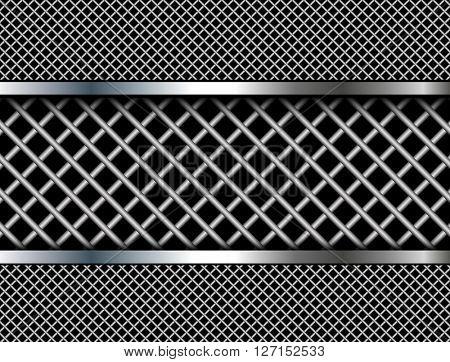 Background metallic grid pattern, 3D vector design.