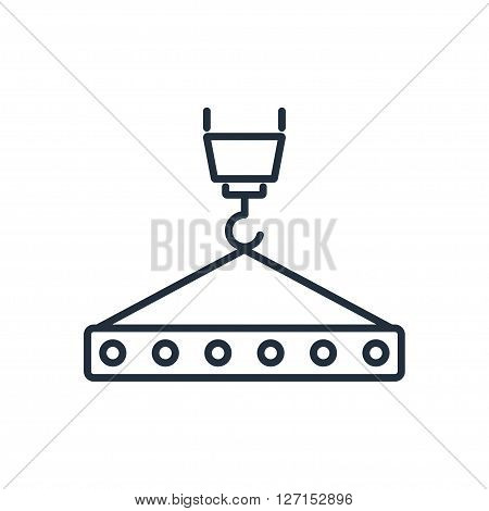 Crane hook with floor slab icon. Vector illustration. Vector symbols.