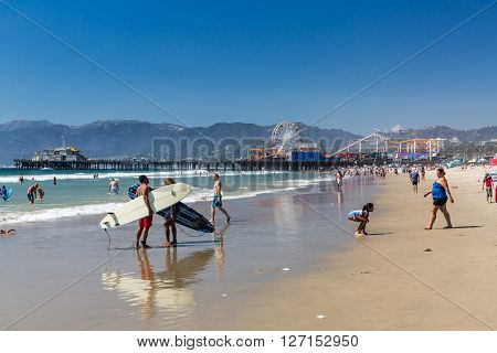 SANTA MONICA, LOS ANGELES - SEPTEMBER 13, 2015: Daytime view of the Venice Beach in Santa Monica - a part of Los Angeles on September 13 2015. Venice Beach is popular by domestic residents for relaxing.