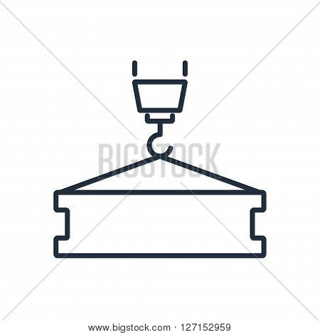 Crane hook with flange beam icon. Vector illustration. Vector symbols.