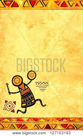 Grunge background with African ethnic patterns and paper texture of yellow color