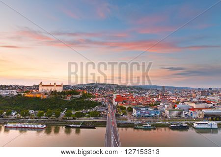 BRATISLAVA, SLOVAKIA - APRIL 22, 2016: View of Bratislava city center over river Danube on April 22, 2016.