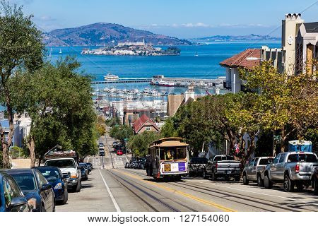 SAN FRANCISCO, CALIFORNIA - SEPTEMBER 17, 2015 : View of the Hyde Street in direction North in San Francisco on September 17, 2015. This view provides a nice view to the streets of San Francisco.