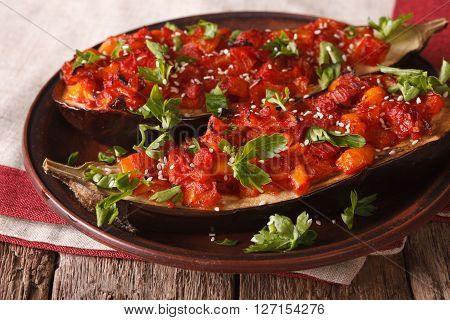 Turkish Cuisine: Half Of Eggplant Stuffed With Vegetables Close-up. Horizontal