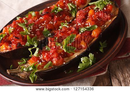 Imam Bayildi With Vegetables And Sesame Close-up. Horizontal