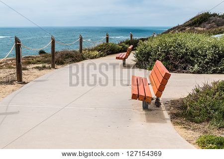 A viewpoint area overlooking the Point Loma tidepools in San Diego, California.
