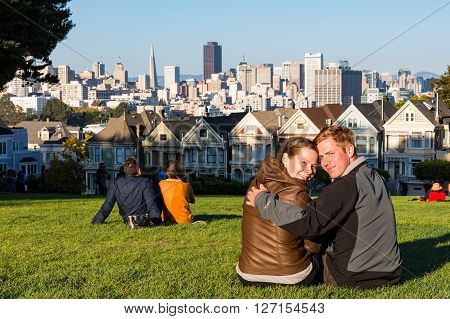 Couple With View Of The Skyline Of San Francisco