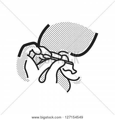 Otolaryngology cleaning ear icon, vector design eps10.