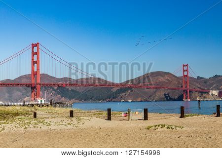 View To The Golden Gate Bridge From Crissy Field Park, San Francisco