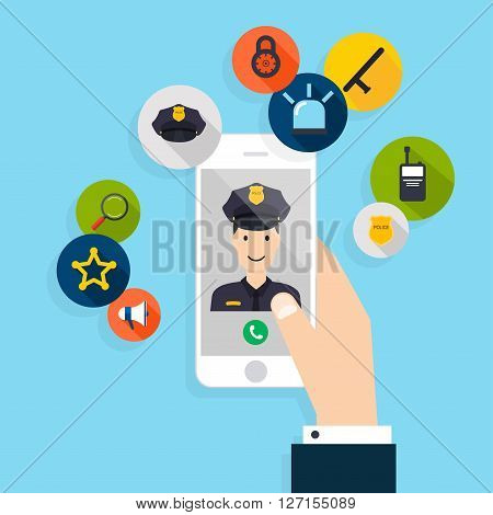 Emergency Call. Vector Modern Creative Flat Design On Hand Holding Mobile Phone With Police Call. Ve