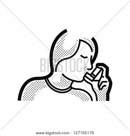 Otolaryngology using the asthma inhaler icon, vector design eps10.