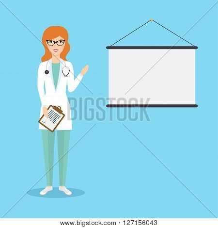 Professional Medical Female Doctor Character Giving Medical Presentation With Copy Space For Text. H