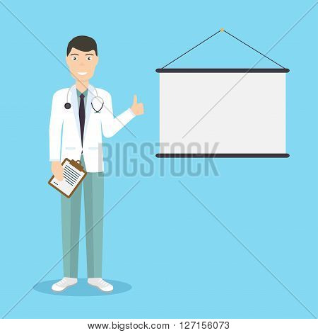 Professional Medical Male Doctor Character Giving Medical Presentation With Copy Space For Text. Hea