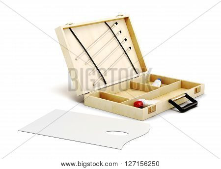 Open the case and painter's palette isolated on white background. 3d rendering.