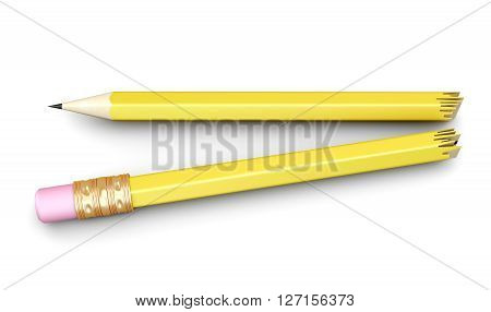 Pencil broken in half isolated on white background. 3d rendering.
