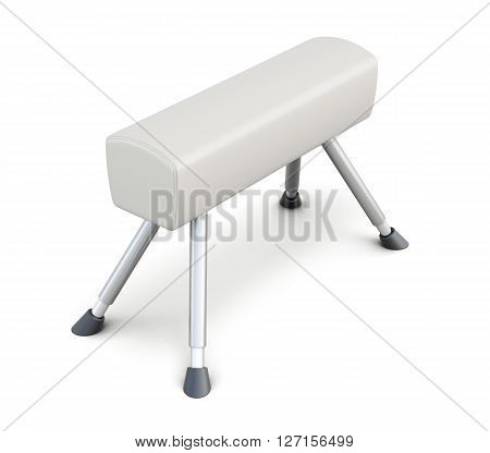 Gymnastic horse isolated on white background. 3d rendering.