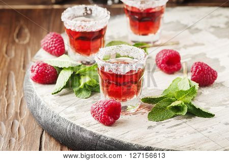 Cold Raspberry Drink With Mint
