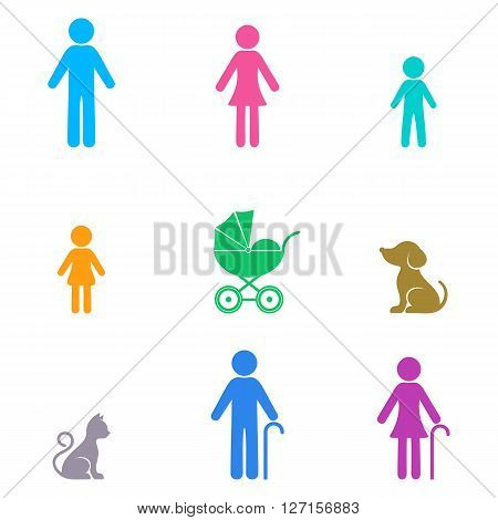 Colorful vector simple family infographic icons collection