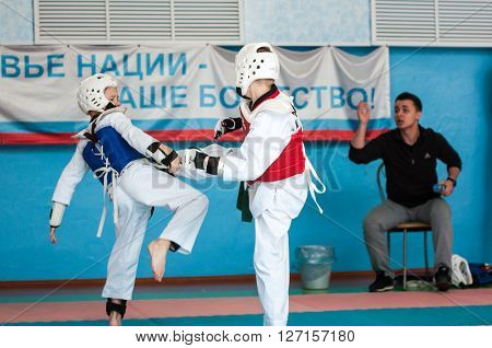 Orenburg, Russia - 23 April 2016: Taekwondo competitions among boys on Open Championship Orenburg city among boys and girls born between 2005-2007