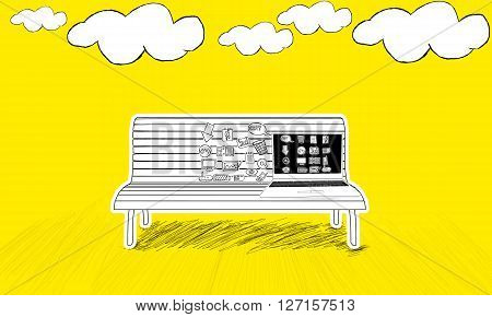 Isolated Laptop With Different Icons On Screen  Placed  On Bench Concept