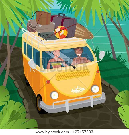 Happy couple riding in a fun yellow van through the jungle along the ocean. Suitcases and surfboard on the roof of the car - Hippie or travel concept
