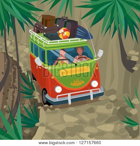 Couple riding in a funny van on a mountain road between the rock and the precipice. Suitcases and surfboard on the roof of the car - Vacation or travel concept