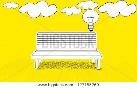 Isolated  Bench Concept - With Idea Stylized Usb Plugged Into  Bench