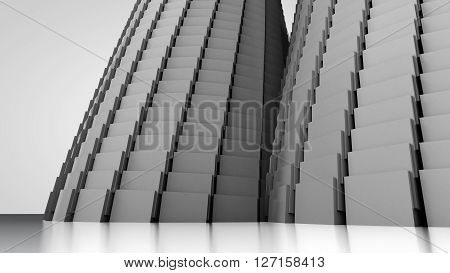 3D illustration of three-dimensional object like two towers