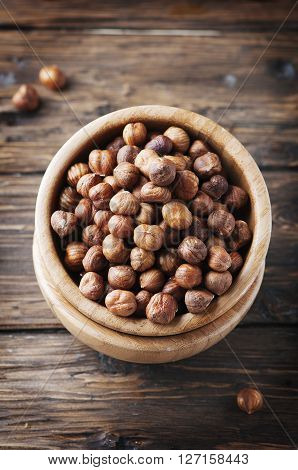 Raw Hazelnuts On The Vintage Table