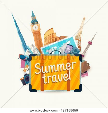 Summer travel illustration with  suitcase and architectural sights